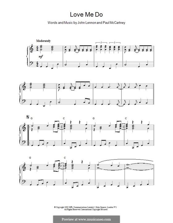 Love Me Do (The Beatles): Для фортепиано (легкий уровень) by John Lennon, Paul McCartney
