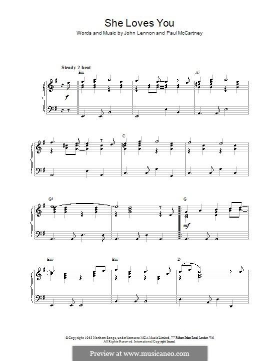 She Loves You (The Beatles): Для фортепиано (легкий уровень) by John Lennon, Paul McCartney