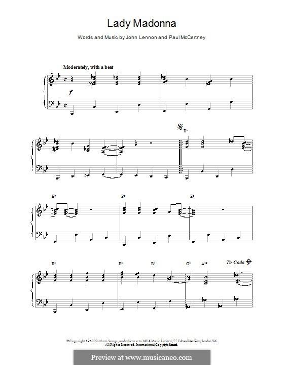 Lady Madonna (The Beatles): Для фортепиано (легкий уровень) by John Lennon, Paul McCartney