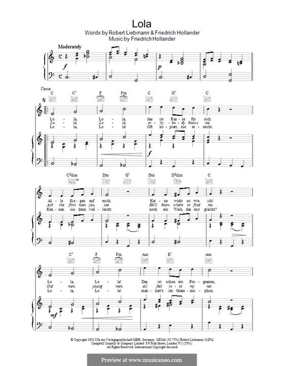 Lola: Для голоса и фортепиано (или гитары) by Friedrich Holländer