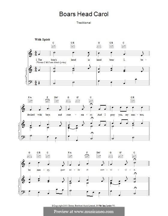The Boar's Head Carol: Для голоса и фортепиано (или гитары) by folklore