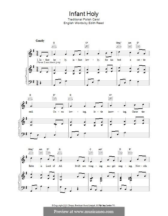 Infant Holy, Infant Lowly: Для голоса и фортепиано (или гитары) by folklore
