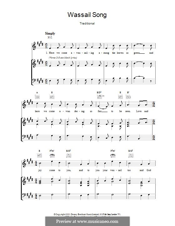 Here we Come a-Wassailing (Printable Scores): Для голоса и фортепиано (или гитары) by folklore