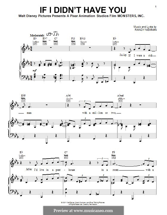 If I Didn't Have You (Billy Crystal and John Goodman): Для голоса и фортепиано (или гитары) by Randy Newman