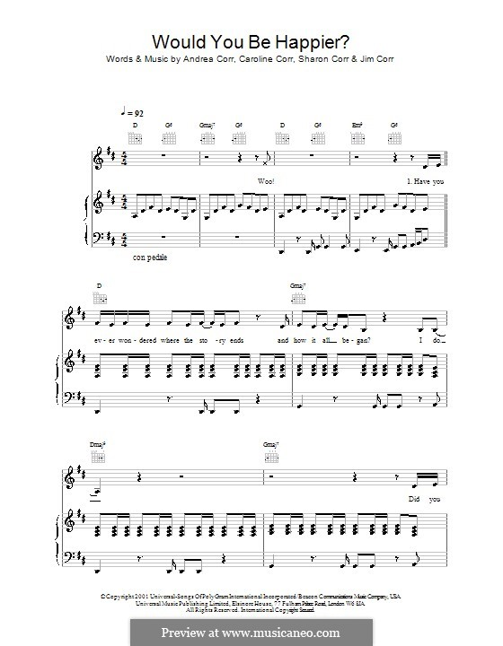 Would You Be Happier? (The Corrs): Для голоса и фортепиано (или гитары) by Andrea Corr, Caroline Corr, Sharon Corr