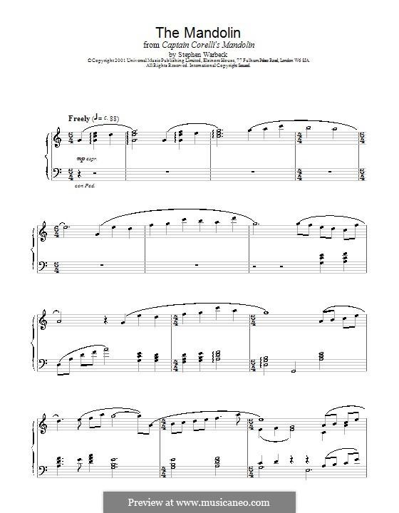 The Mandolin (from Captain Corelli's Mandolin): Для фортепиано by Stephen Warbeck