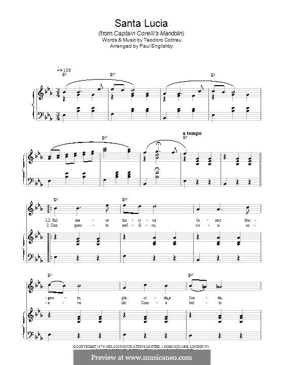 Santa Lucia: Для фортепиано by Teodoro Cottrau