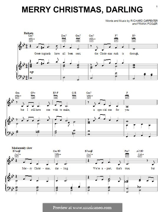 Merry Christmas, Darling (Carpenters): Для голоса и фортепиано (или гитары) by Frank Pooler, Richard Carpenter