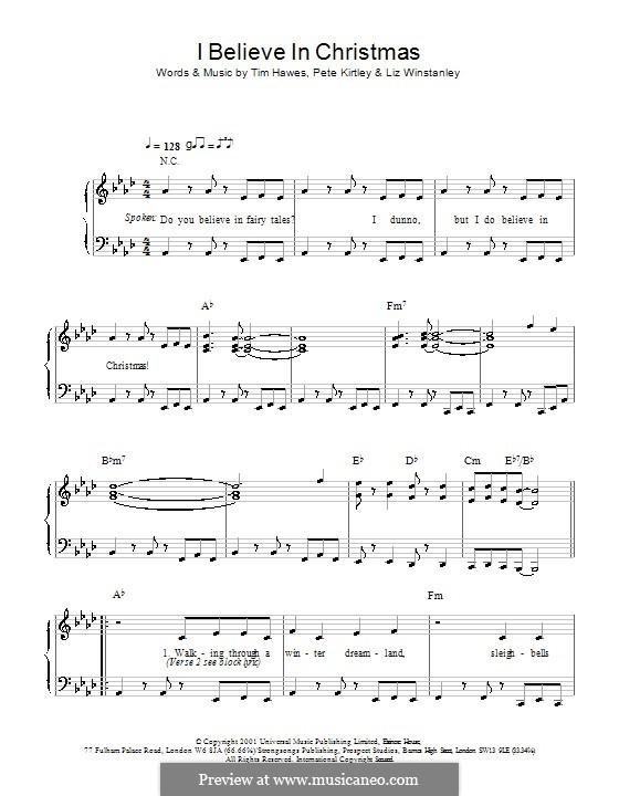 I Believe in Christmas (The Tweenies): Для голоса и фортепиано (или гитары) by Liz Winstanley, Pete Kirtley, Tim Hawes