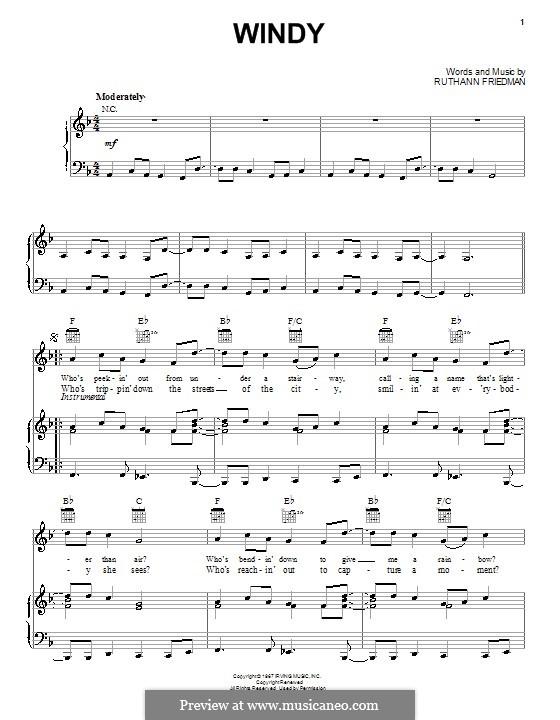 Windy (The Association): Для голоса и фортепиано (или гитары) by Ruthann Friedman