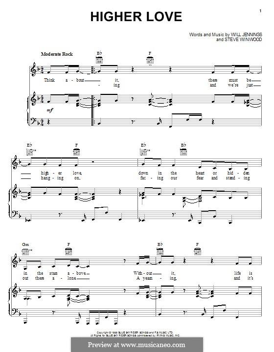 Higher Love: Для голоса и фортепиано (или гитары) by Steve Winwood, Will Jennings