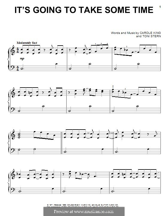 It's Going To Take Some Time (Carpenters): Для фортепиано by Carole King, Toni Stern