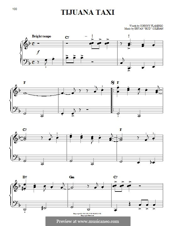 Tijuana Taxi (Herb Alpert & The Tijuana Brass Band): Для фортепиано (легкий уровень) by Ervan Coleman, Johnny Flamingo