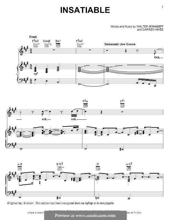 Insatiable (Darren Hayes): Для голоса и фортепиано (или гитары) by Walter Afanasieff