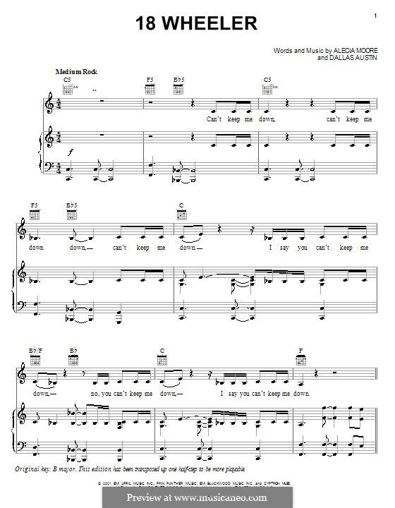 18 Wheeler (Pink): Для голоса и фортепиано (или гитары) by Alecia Moore, Dallas Austin