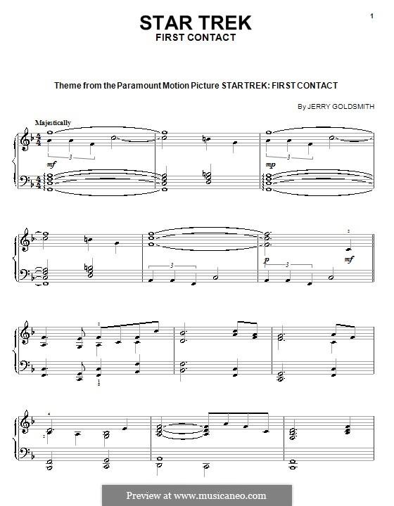 Тема из фильма 'Звёздный путь: Первый контакт': Для фортепиано by Jerry Goldsmith