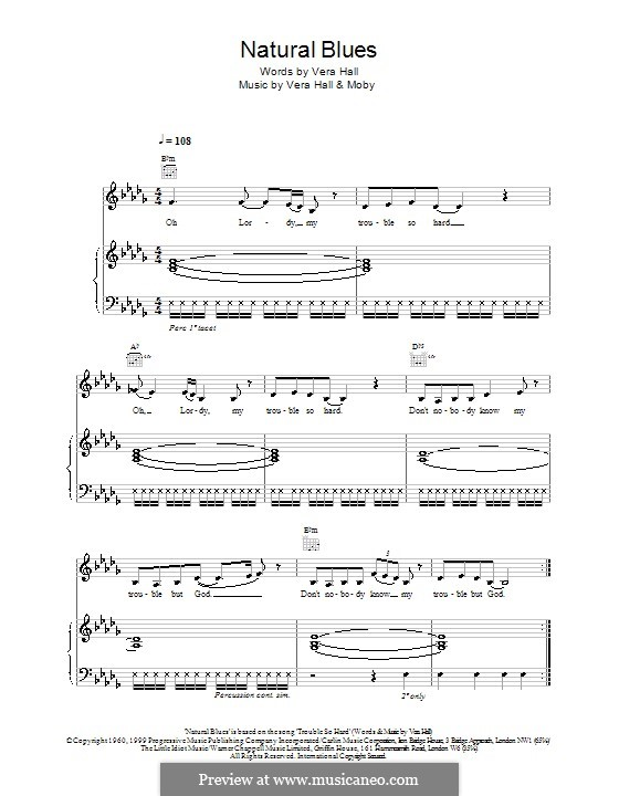 Natural Blues: Для голоса и фортепиано (или гитары) by Moby, Vera Hall