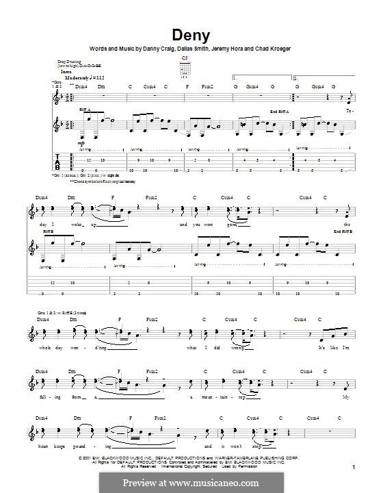 Deny (Default): Гитарная табулатура by Chad Kroeger, Dallas Smith, Danny Craig