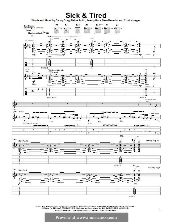 Sick and Tired (Default): Гитарная табулатура by Chad Kroeger, Dallas Smith, Danny Craig