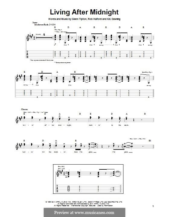 Living After Midnight (Judas Priest): Гитарная табулатура by Glenn Tipton, K. K. Downing, Robert Halford