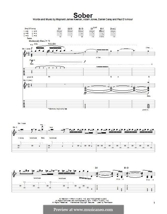 Sober (Tool): Гитарная табулатура by Adam Jones, Daniel Carey, Maynard James Keenan