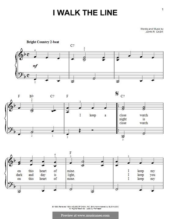 I Walk the Line: Для фортепиано (легкий уровень) by Johnny Cash