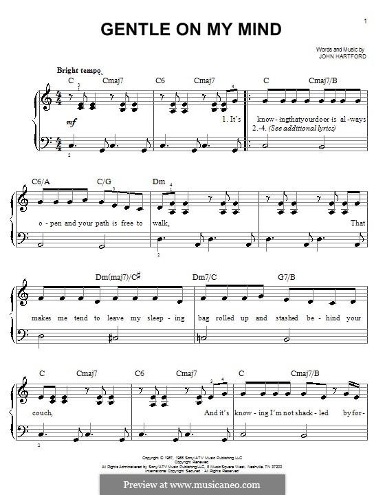 Gentle On My Mind: Для фортепиано (легкий уровень) by John Hartford