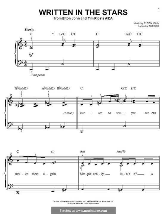Written in the Stars: Для фортепиано (легкий уровень) by Elton John
