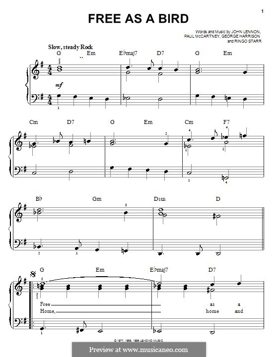 Free as a Bird (The Beatles) : Для фортепиано (легкий уровень) by John Lennon