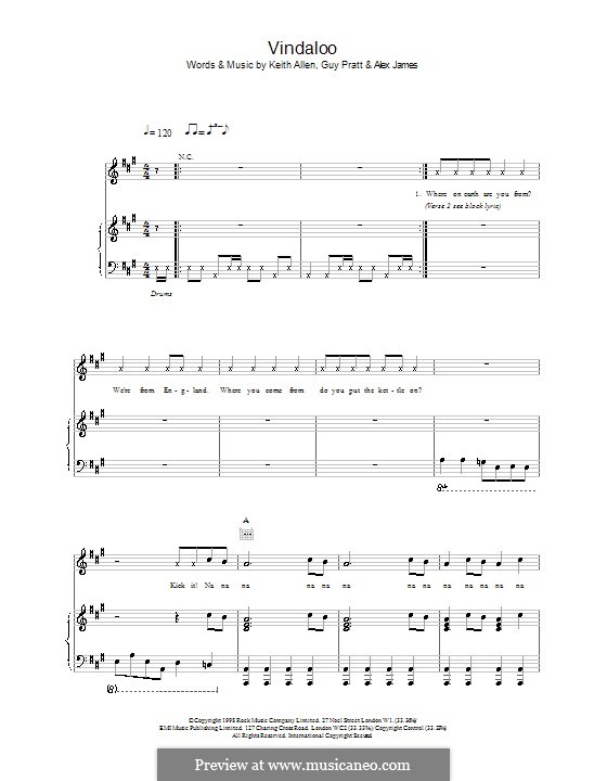 Vindaloo (Fat Les): Для голоса и фортепиано (или гитары) by Alex James, Guy Pratt, Keith Allen