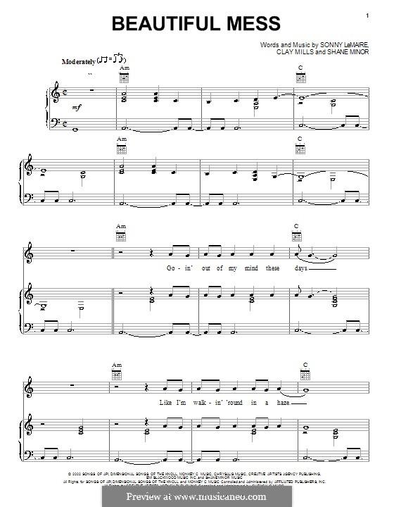 Beautiful Mess (Diamond Rio): Для голоса и фортепиано (или гитары) by Clay Mills, Shane Minor, Sonny Lemaire