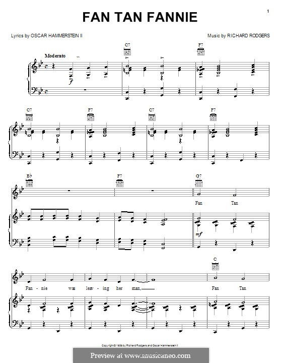 Fan Tan Fannie (from Flower Drum Song): Для голоса и фортепиано (или гитары) by Richard Rodgers