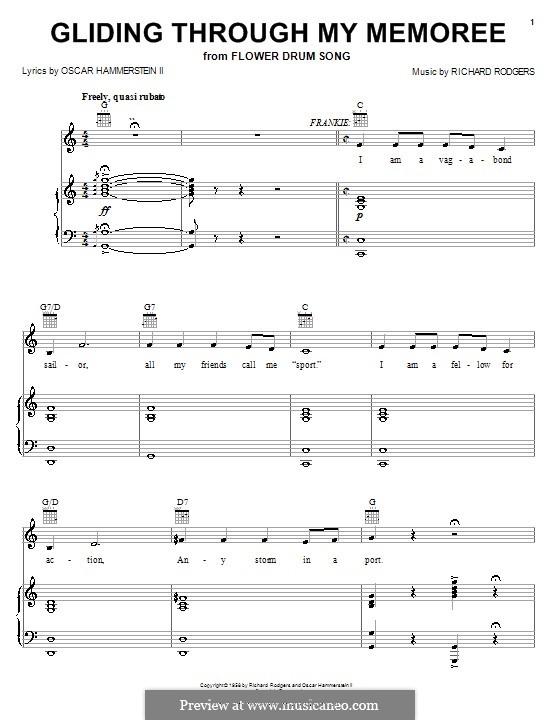 Gliding Through My Memoree (from Flower Drum Song): Для голоса и фортепиано или гитары by Richard Rodgers