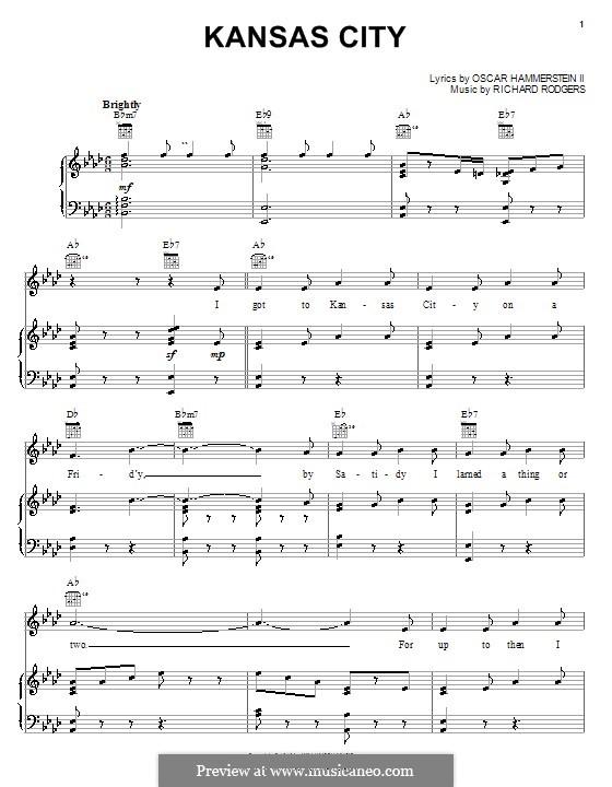 Kansas City (from Oklahoma!): Для голоса и фортепиано или гитары by Richard Rodgers