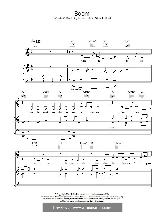 Boom (Anastacia): Для голоса и фортепиано (или гитары) by Glen Ballard