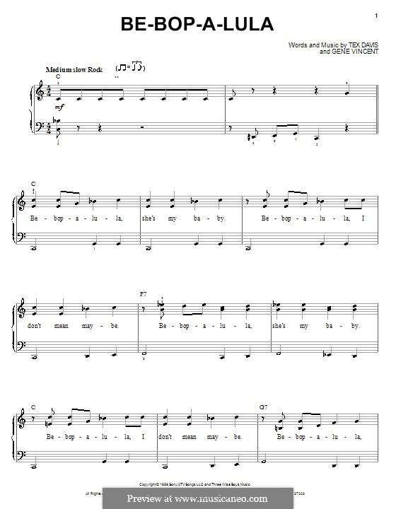 Be-Bop-A-Lula: Для фортепиано (легкий уровень) by Gene Vincent, Sheriff Tex Davis