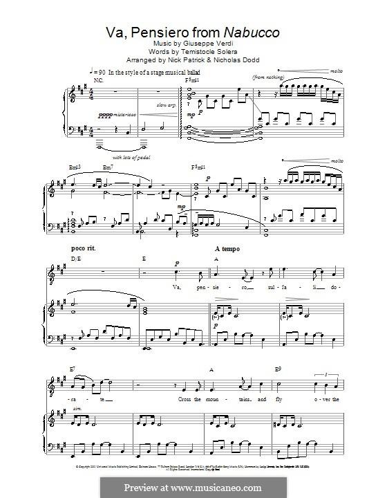 Va' Pensiero (Chorus of the Hebrew Slaves): Для голоса и фортепиано (или гитары) by Джузеппе Верди