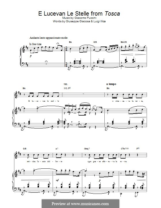 Тоска: E lucevan le stelle, for voice and piano (or guitar) by Джакомо Пуччини