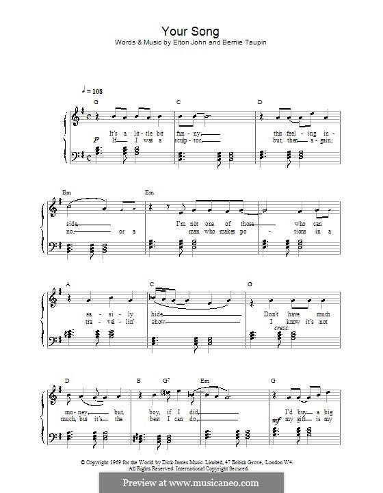 Your Song: Для фортепиано (легкий уровень) by Elton John