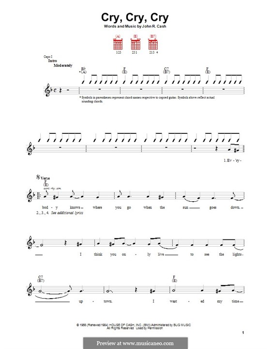 Cry, Cry, Cry: Для гитары (с вариантом боя) by Johnny Cash