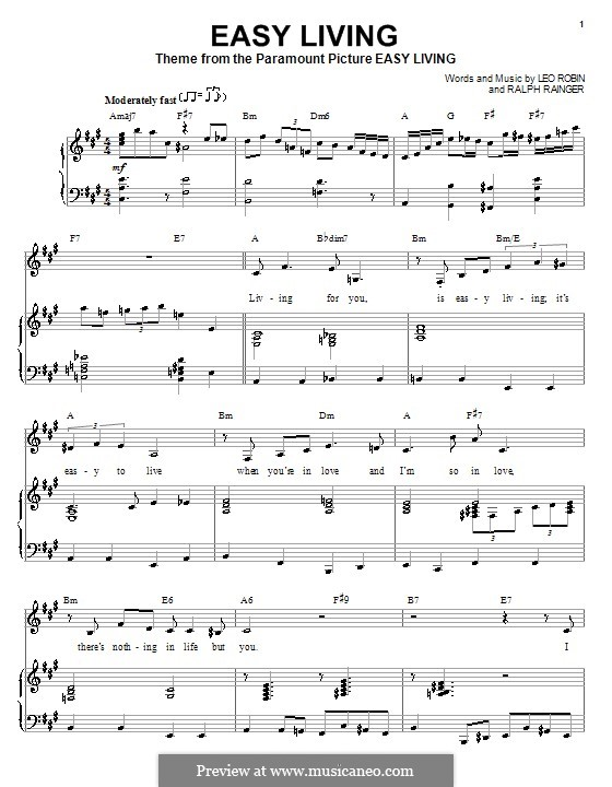 Easy Living (Billie Holiday): Для голоса и фортепиано (или гитары) by Leo Robin, Ralph Rainger