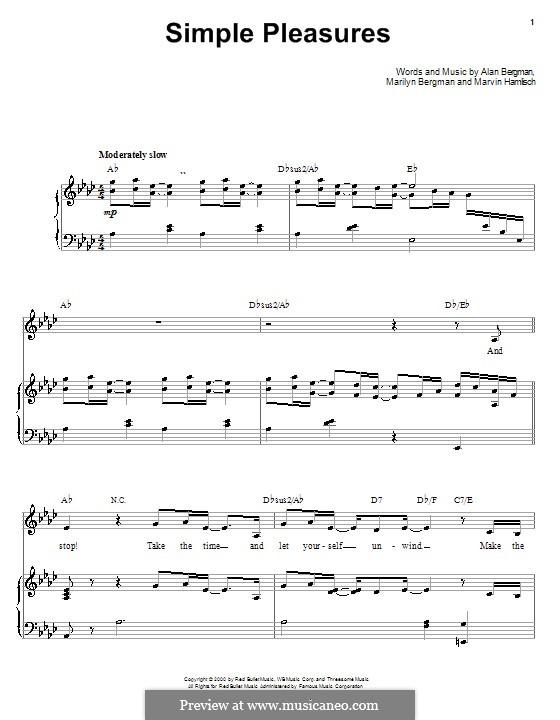 Simple Pleasures (Barbra Streisand): Для голоса и фортепиано (или гитары) by Alan Bergman, Marilyn Bergman, Marvin Hamlisch