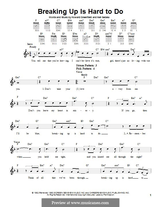 Breaking Up Is Hard To Do: Для гитары (очень легкая версия) by Howard Greenfield