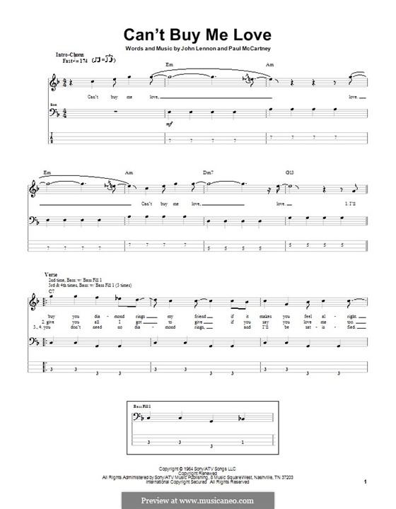 Can't Buy Me Love (The Beatles): Для бас-гитары с табулатурой by John Lennon, Paul McCartney