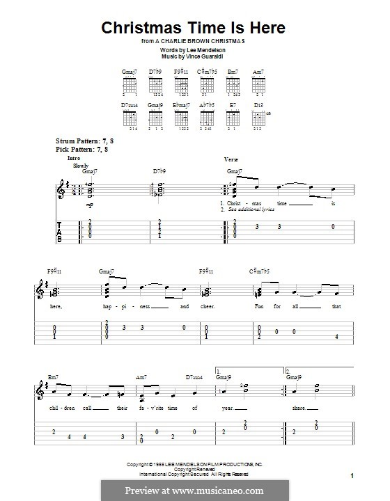 Christmas Time is Here: Для гитары (очень легкая версия) by Vince Guaraldi