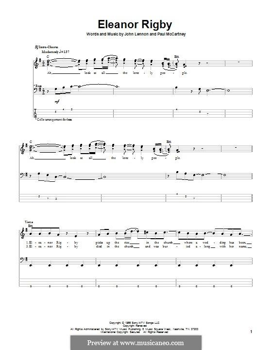 Eleanor Rigby (The Beatles): Для бас-гитары с табулатурой by John Lennon, Paul McCartney