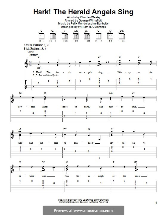 Hark! The Herald Angels Sing, for Solo Instrument: For easy guitar tab by Феликс Мендельсон-Бартольди