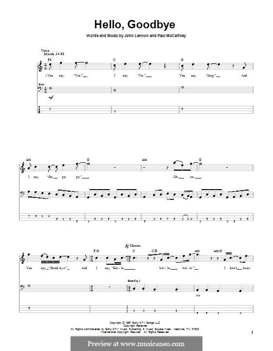 Hello, Goodbye (The Beatles): Для бас-гитары с табулатурой by John Lennon, Paul McCartney