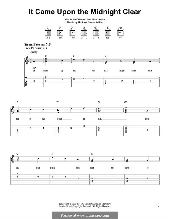 It Came upon the Midnight Clear: Very easy version for guitar by Richard Storrs Willis