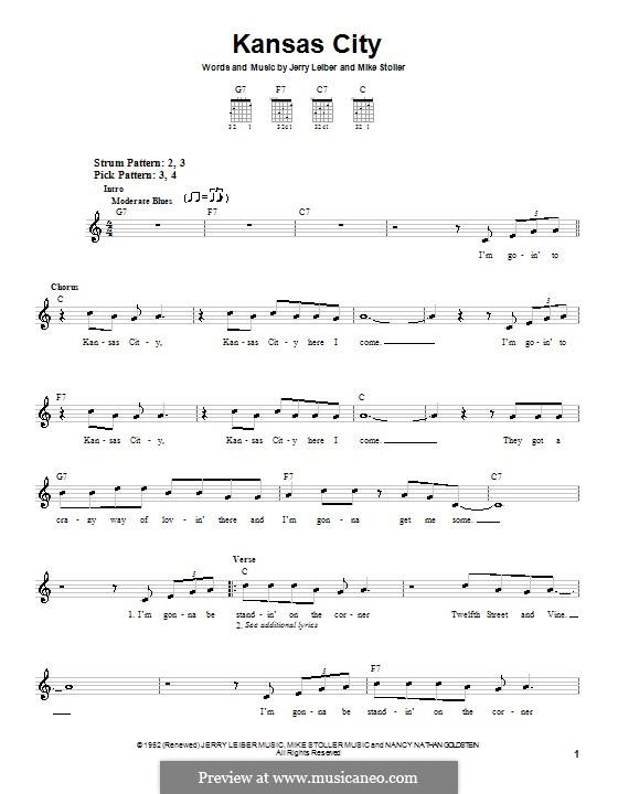 Kansas City: Для гитары (очень легкая версия) by Jerry Leiber, Mike Stoller